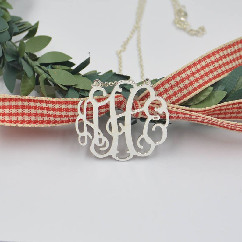 925 sterling silver monogram necklace-silver monogram initials image 0