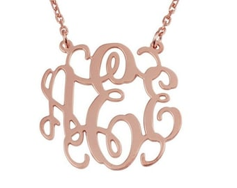 Monogram Necklace,15% off,925 silver 1 inch Monogram Necklace plated Rose Gold,you can choose 18K gold plated too