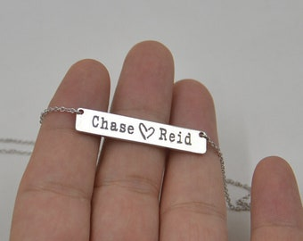Valentine's Day gift-Name bar necklace-Sterling Silver two name necklace-Personalized name jewelry-Gift for girlfriend,Lovers