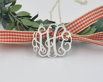 Sterling SILVER MONOGRAM NECKLACE-Mother's day-monogrammed Gifts-personalized Valentine's Day gifts for her