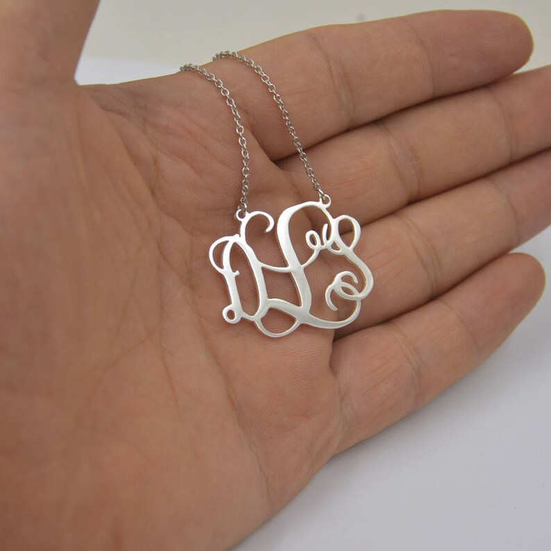 Monogram necklac-STERLING silver monogrammed initials image 0