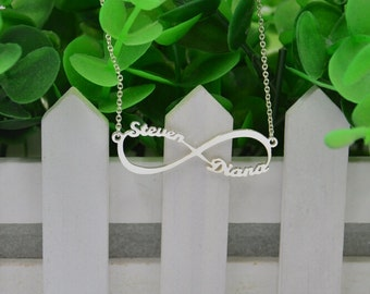 Infinity Necklace-Personalized name Infinity Necklace-925 sterling silver name jewelry,custom name necklace gift for lover