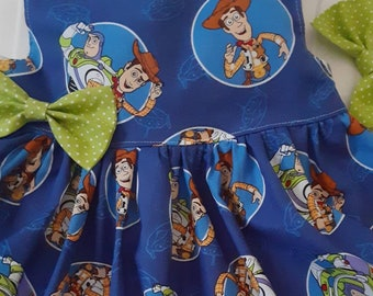 TOY STORY DRESS Woody Buzz Dress Disney Dress Birthday Party Dress 3mo.to6yr. Flutter or Sleeveless made by BabyCuteBaby.etsy.com