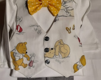 Winnie the Pooh Baby Suit Brother Sister Outfits Winnie the Pooh Vest Yellow Dot Bow Tie Light Gray Pants Matching Dress avail in my shop