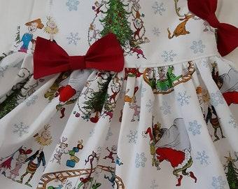 GRINCH Christmas Dress Holiday Grinch Family Christmas Baby Toddler Girl Christmas Dress Flutter or Sleeveless 3mo.to 6yr Handmade USA