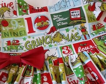 GRINCH CHRISTMAS Dress Christmas Holiday Grinch Dress Grinch Christmas Party Dress Flutter or Sleeveless 3mo.to6yr USA BabyCuteBaby.etsy.com