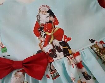 Christmas Santa Dress Blue Christmas SANTA DRESS  Holiday Party Dress photos w Santa Dress Flutter or Sleeveless 3mo.to6yr. Handmade USA