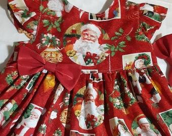 SANTA CHRISTMAS Dress Old Time Santa Dress Red Christmas Santa Dress Party Dress Sleeveless orFlutter Sleeve 3mo.to6yr BabyCuteBaby.etsy.com