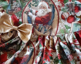 SANTA Christmas Dress OLD TIME Santa Christmas Party Holiday Dress Baby Toddler Girl Christmas Dress 3mo.to6yr. FlutterorSleeveless Handmade