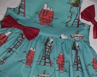 CHRISTMAS Snoopy Dress SNOOPY Christmas Holiday Dress Christmas Party Dress Sleeveless or Flutter Sleeve 3mo.to6yr. Handmade by BabyCuteBaby
