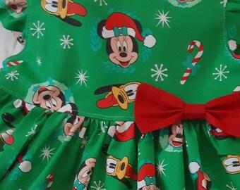 Mickey & Minnie Mouse Christmas Dress Mickey Minnie Dress Mickey Minnie Mouse Party Dress photos w Santa Dress 3moto6yr FlutterorSleeveless