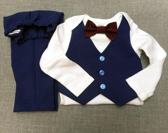 Baby Clothes Boy Outfit Wedding Easter Baby Suit Navy Blue Vest Bow Tie    Pants Suit Fabric Any Color Bow Tie Newborn to 24 mo. Birthday dc897dcc1