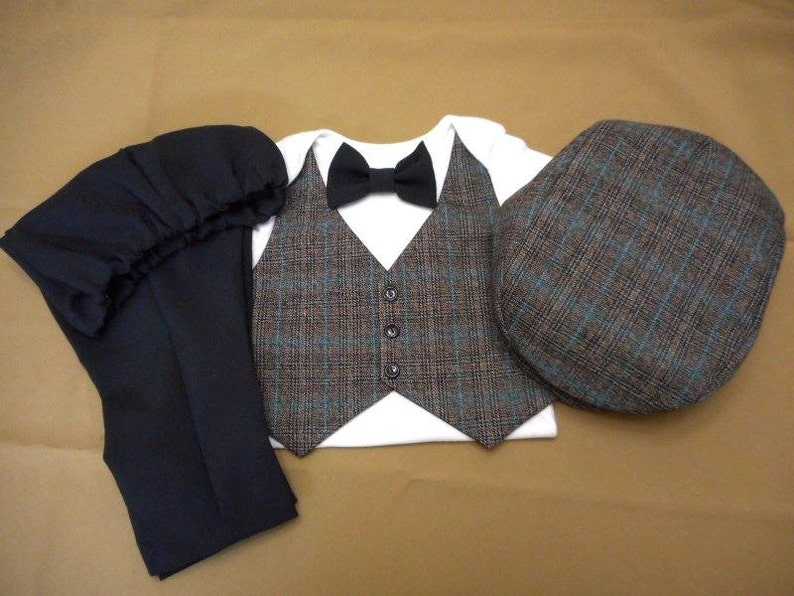 f2b0bfcbdcb7 Baby Boy Suit Vest Bow Tie Black Pants AND Hat with