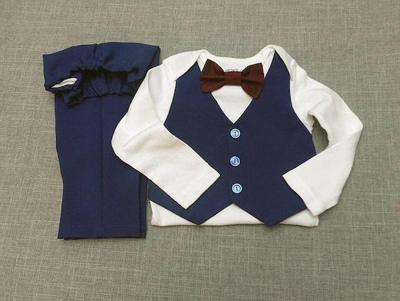 Baby Boy Outfit Suit Tan Vest Pants Suit Fabric Carter/'s Bodysuit Aqua BowTie orAny Color BowTie Wedding Easter Baptism Short or Long Sleeve