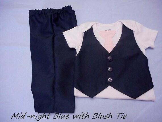 747fd6b27 Baby Boy Outfit Wedding Suit Dark Navy Midnight Blue Vest