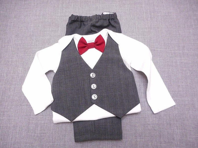 419cefff3f8c Wedding Easter Baby Boy Outfit Suit Charcoal Gray w/Dark | Etsy