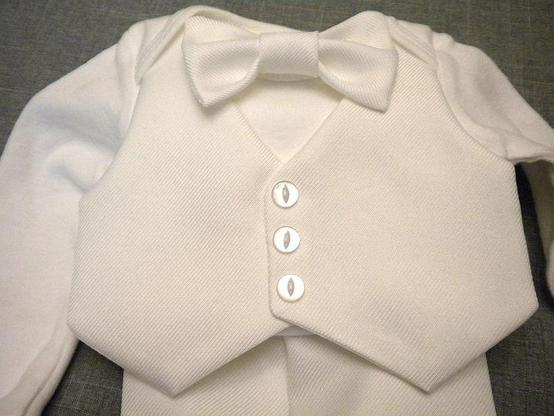 24 month Baby Boy Baptism Christening Outfit White Ribbed Fabric Wedding Bodysuit Vest Bow Tie /& Pants White Wedding Suit Fabric Newborn