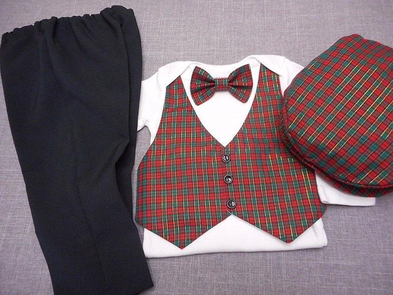 13da7341a3eb AMERICAN HANDMADE Baby Boy Christmas Outfit Suit Vest Bow Tie