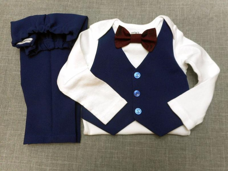 Baby Boy Outfit Wedding Suit Navy Blue Vest Bow Tie & Pants image 0