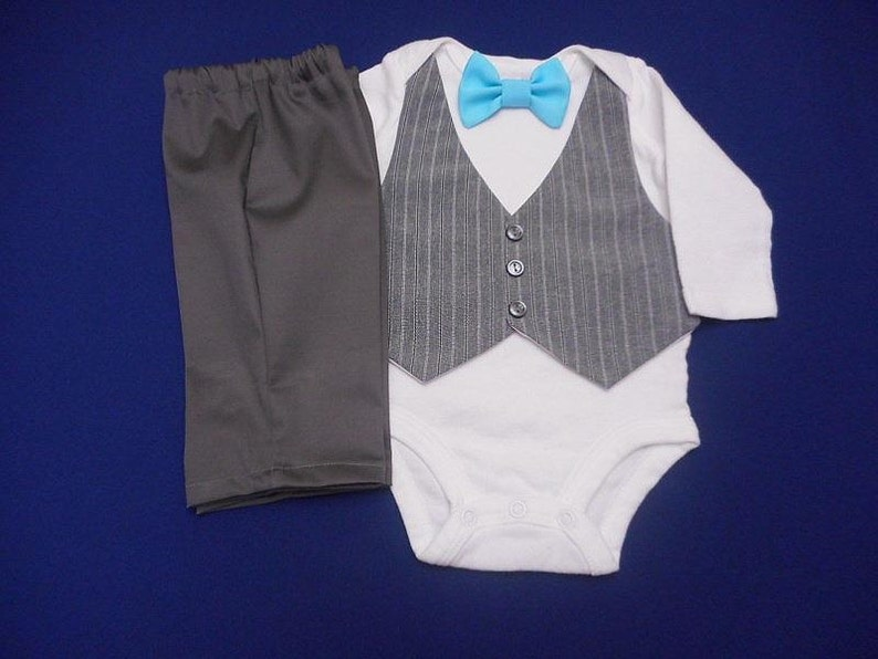 36dff51875b5 Baby Boy Easter Outfit Suit Wedding HAT-Vest & Pants Gray | Etsy