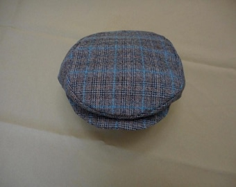 Baby Boy Newsboy Hat  Black & Bown Blue Plaid  or Any Color - Any Size