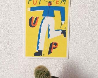 PUT EM UP A5 cowboy screenprint poster