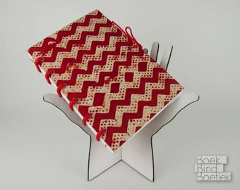 Bound-on-cords Notebooks Red Zigzag