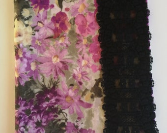 Mauve n black floral diary/notebook cover with black trim closure using upcycled fabric