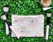 Floral Zipper Pouch Pencil Case, Makeup bag, Zipper bag with cacti plants