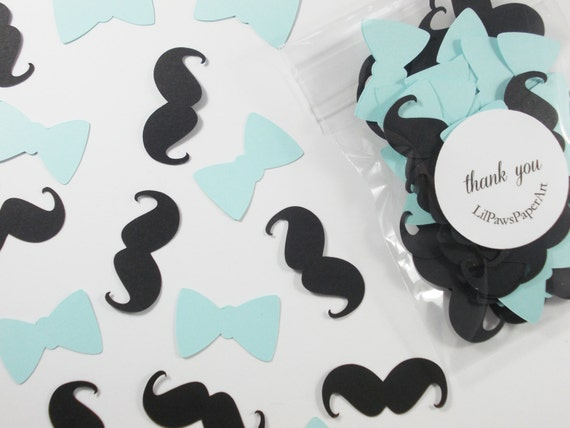 Mustache Bow Tie Confetti Little Man Baby Blue Party Cutouts Etsy