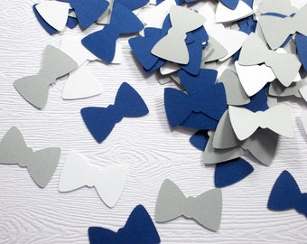 Bow Tie Confetti, Little Man Birthday Party, Boy Baby Shower, Navy Gray & White Bow Tie Party Decoration, Table Confetti, 100 Ct.