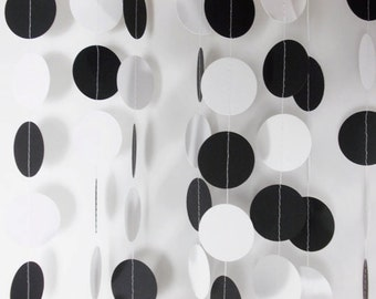 Party Paper Circle Garland, Black & White Decor, Party Decoration
