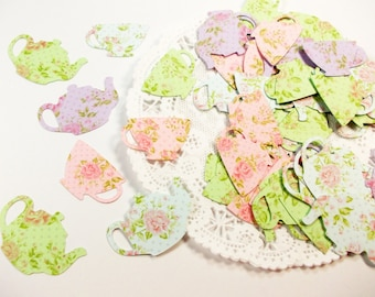 Tea Party Decorations, Floral Teapot Teacup Confetti,  Alice in Wonderland, Table Confetti 100 Ct.