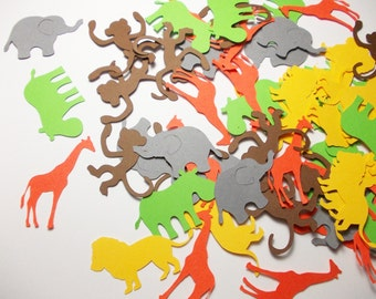 Jungle Animal Confetti, Lion Hippo Monkey Giraffe Confetti, Safari Party Decorations, Birthday Party Decoration, Table Confetti, 100 Ct.