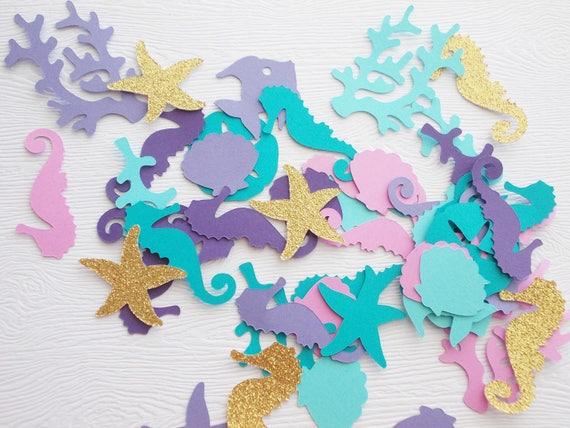 Under the sea nautical Octopus glitter confetti die cuts beach ocean birthday party baby shower invitations inserts table decor mermaid