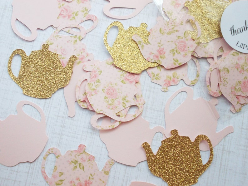 Tea Party Decoration Glitter Gold or Rose Gold & Blush Pink image 0
