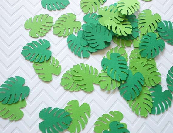 Jungle Leaf Confetti Tropical Party Decoration Paper Leaves Etsy Tropic clipart, tropical watercolor leaves, bright green foliage, monstera, palm tree, jungle plants, wedding invitation, bridal shower. jungle leaf confetti tropical party decoration paper leaves palm leaves table decor 80 ct