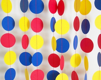 Paper Party Circle Garland, Red Yellow & Blue, Party Decor, All Occasion, Birthday Party Decoration