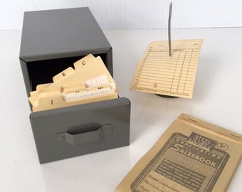 Vintage Metal Business Card File, Industrial Card Catalog, Metal File Box with Original A-Z tabbed divider cards