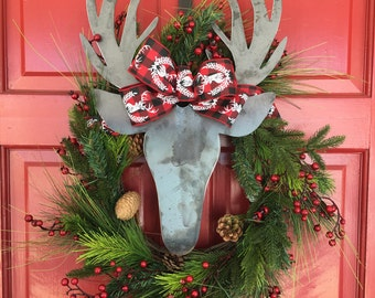 "24"" Christmas Wreath with metal deer head. Door Decor. Oversized. Buffalo Plaid. Bow. Outdoor.  Antlers. Hunter. Country. Southern. Holiday."