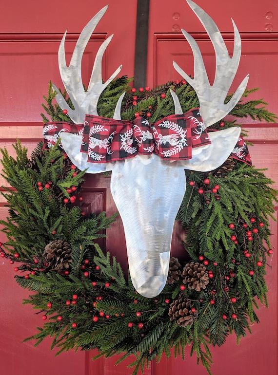 24 Christmas Wreath with metal deer head. Door Decor. | Etsy