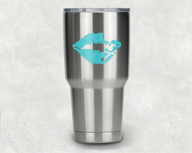 Flash sale! DIY Skull and Cross bone Kiss Decal  Tumbler Yeti Rambler 20/  30 Oz Tumbler  Tervis  Cup  RTIC  Colster  Pirate  GIFT  Birthday