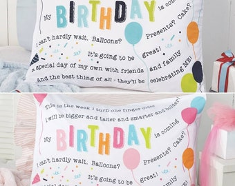 Happy Birthday Pillow Cases.  Girl.  Boy.  Celebrate.  Gift for Her.  Gift for Him. Party.  Birthday.  Tradition.