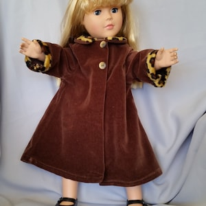 American Girl and 18 inch doll plush tan winter coat with contrasting brown velveteen collar and cuffs with matching boots and bag