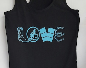 Love, barrel racing, womens tank, barrel racing tank
