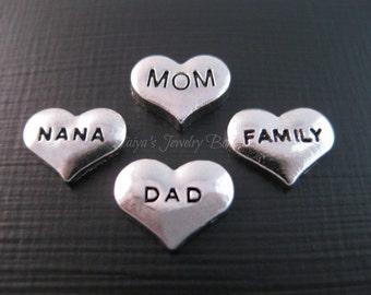 Floating Locket Charms -Heart Locket Charms - Mom,Dad,Nana,Family Memory Locket Charms