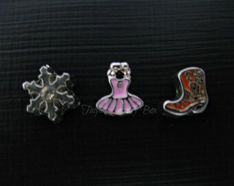 Boot, Snow Flake, Ballet Locket Charms - Floating Memory Locket Charm - Locket Charms