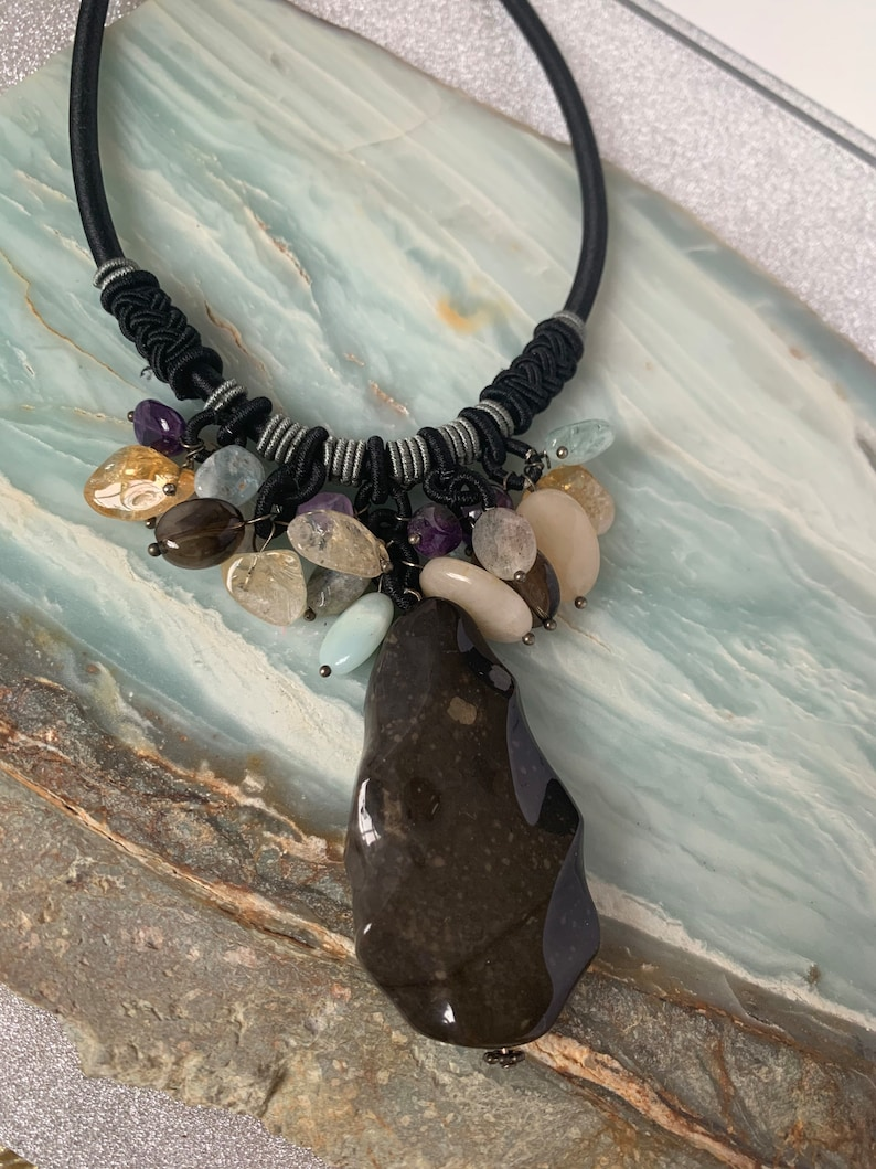 Semi Precious and Natural Polished Stone Necklace  Mothers Day  Gifts for Mom  Ladies Necklace Stone  Healing Stone  Healing Jewelry