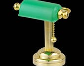 Brass Desk light w green shade super bright LED lamp with On off switch for dollhouse miniature 1 12 scale