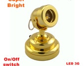 Miniature spot Led Battery Light BRASS Lamp with on off switch for 1 12 scale dollhouse miniatures